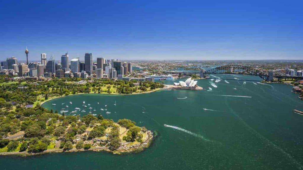 Oversigtsbillede af Sydney og havneområdet.