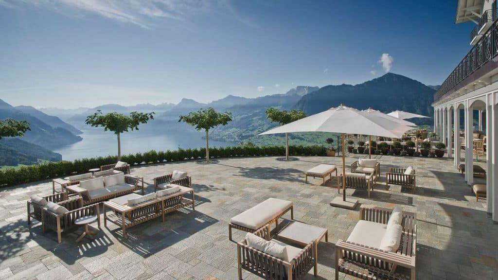 Terrassen på Hotel Villa Honegg i Schweitz.