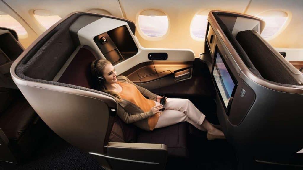 Singapore Airlines prisbelønnede Business Class er den mest rummelige i klassen.