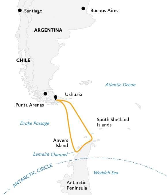 Antarctic Explorer kort.