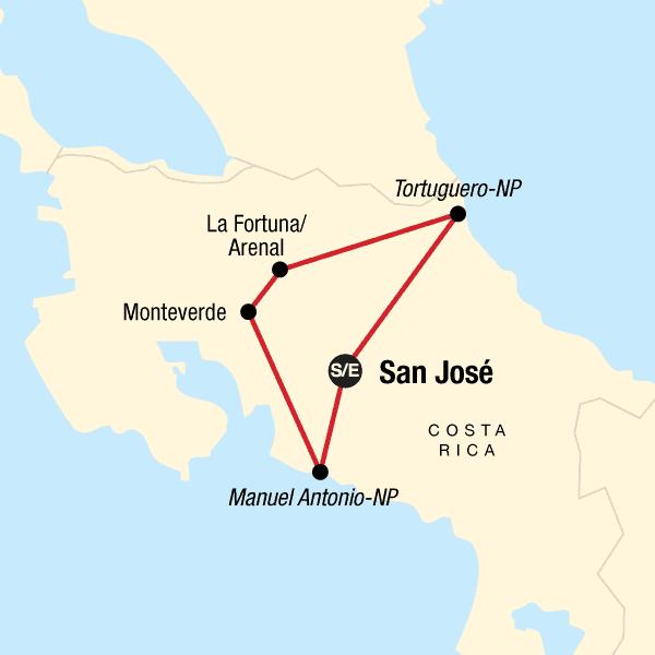 Explore Costa Rica kort.