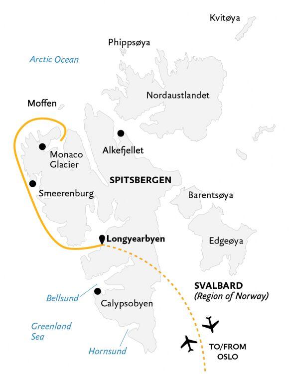 Spitsbergen highlights kort.